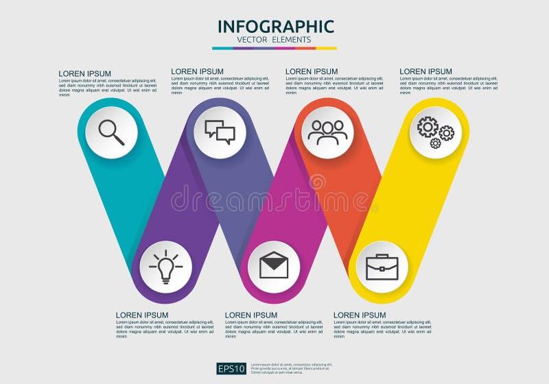 Infographic-Element-Entwurfsschablone Verbindung mit 6 Schritten für Diagramm, Darstellung, Arbeitsfluß, Jahresbericht Kommerziel stock abbildung