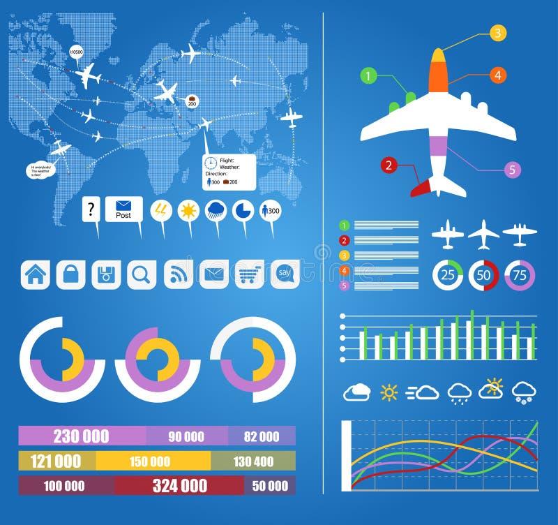 Infographic element för flyg stock illustrationer