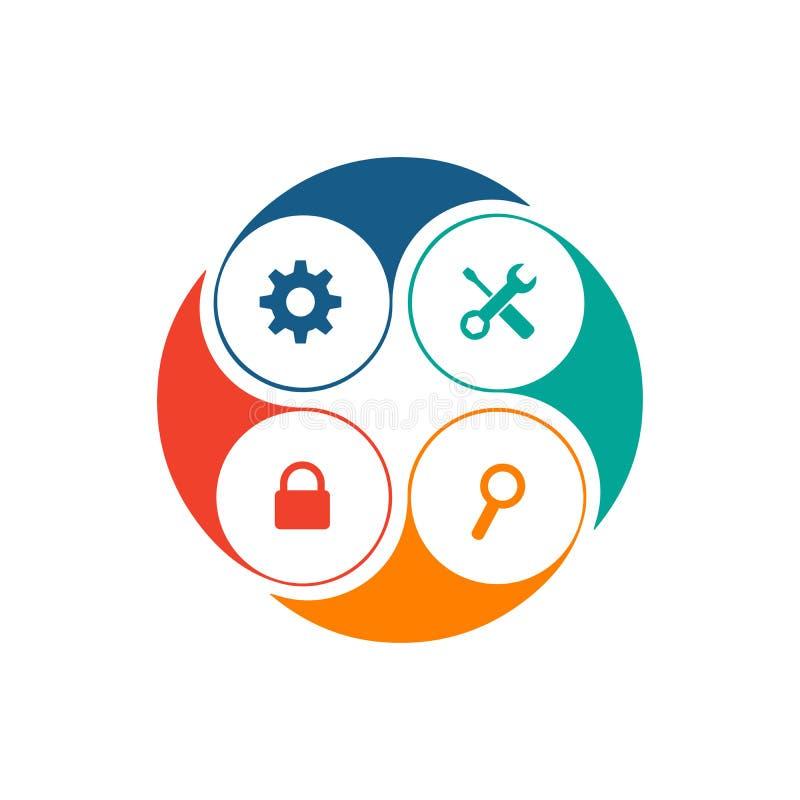 Infographic element Mapa, wykres, diagram z 4 krokami, opcje, części, procesy, faza Wektorowy biznesowy szablon dla ilustracja wektor