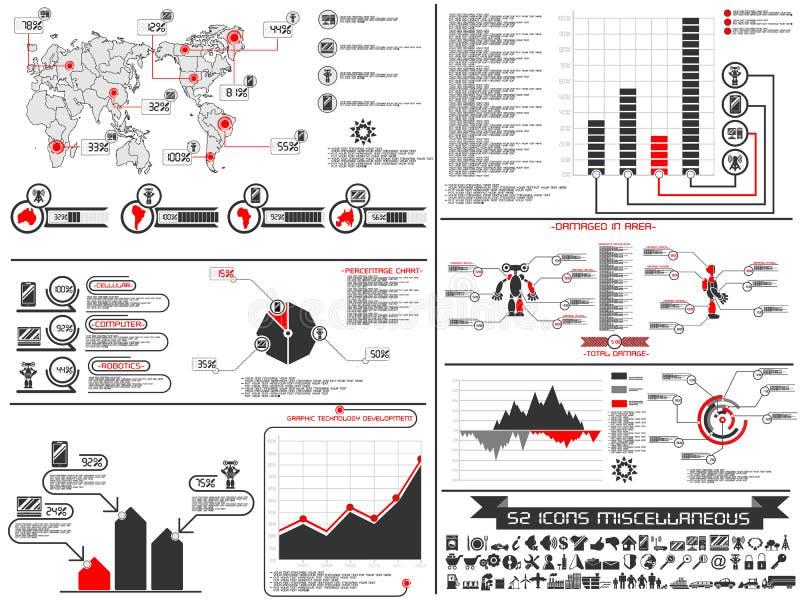 Infographic-Elementdiagramm und -graphik Roboter vektor abbildung