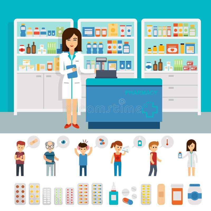 Infographic Elemente der Apotheke und flaches Fahnendesign Vektorapotheken-Drugstorebühnenbild Mischt Ikonenpillenkapseln Drogen  stock abbildung
