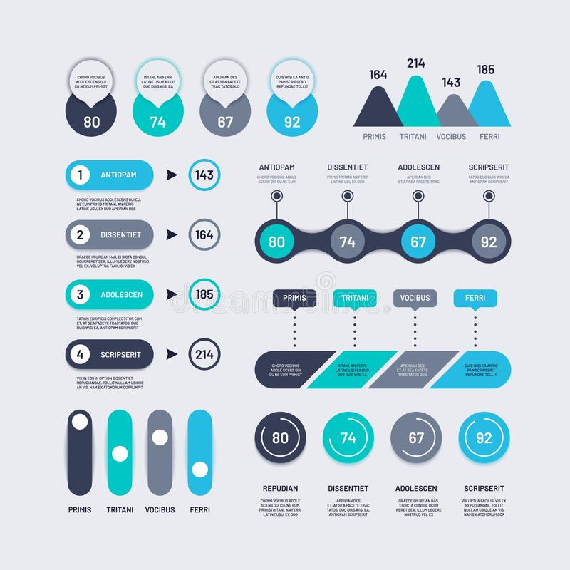 Infographic elements. Bar graphs timelines circle diagram flowchart with percents, number chart and icons. Business stock illustration