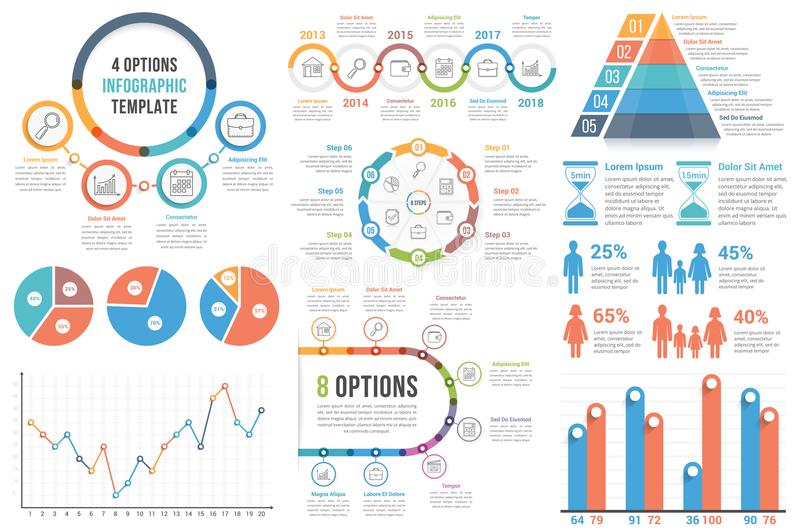 Infographic Elements. Bar and line charts, pie charts, steps, options, timeline, people infographics stock illustration