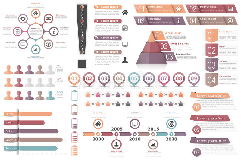 Infographic Elements. Circle diagram, text boxes with numbers and icons, pyramid chart, bar chart, timeline infographics and other infographic objects, business vector illustration