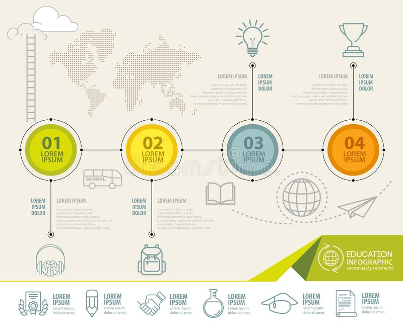 Infographic elements with education icons. can be used for education infographic vector illustration