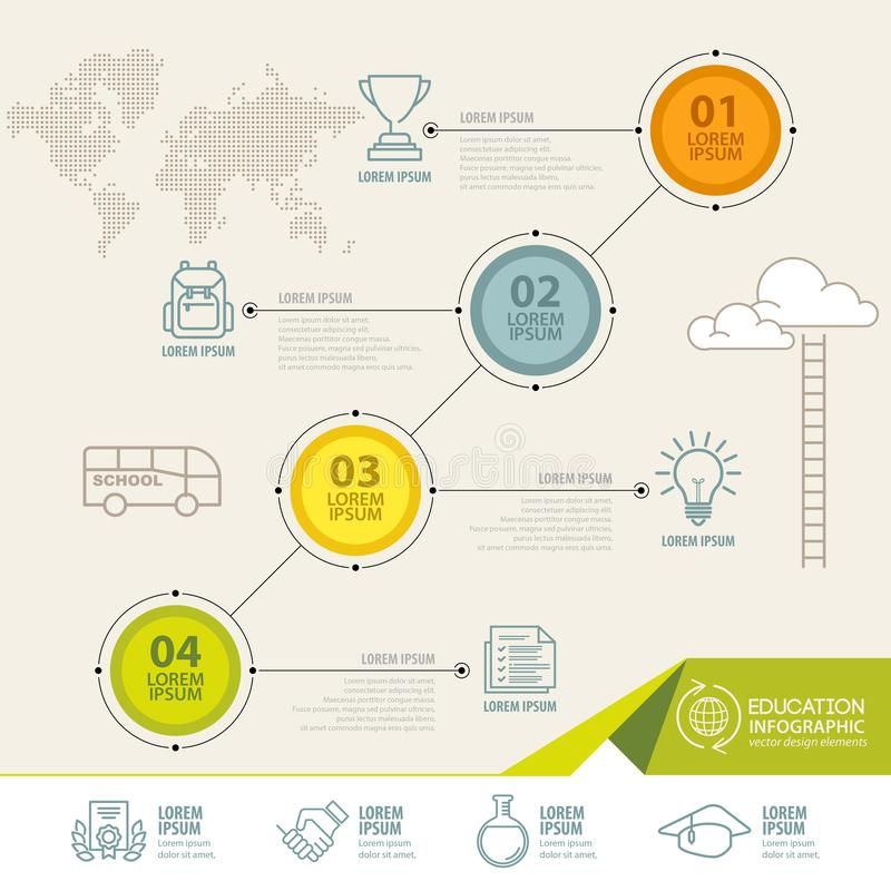 Infographic elements with education icons. can be used for education infographic royalty free illustration