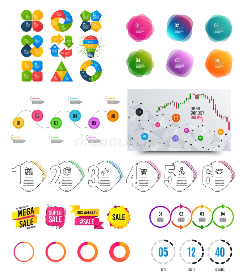 Infographic elements. Financial graph, options banner badges. Sale shapes, countdown. Analytics chart, timeline. Vector. Infographic elements. Financial graph stock illustration