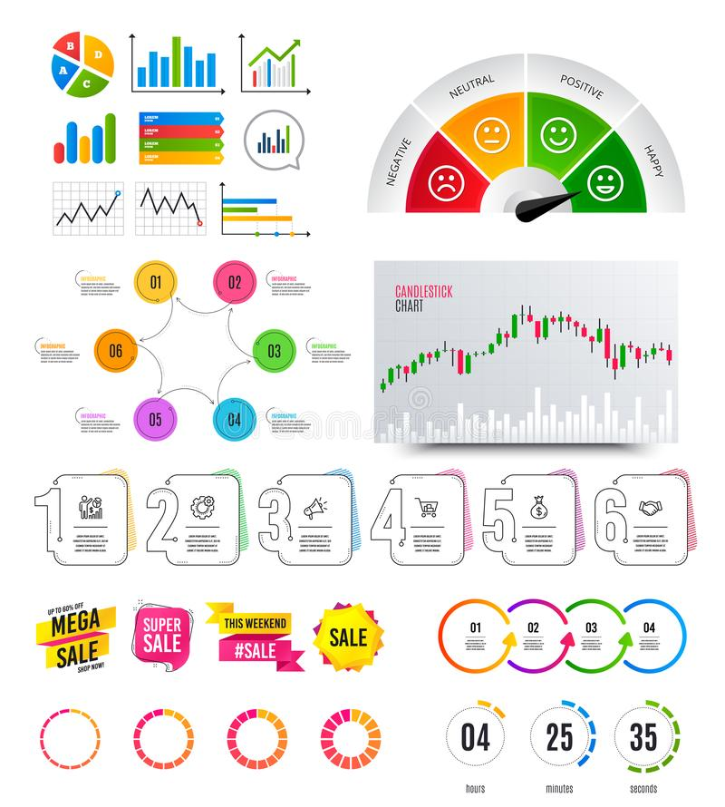 Infographic elements. Financial graph, options banner badges. Sale shapes, countdown. Analytics chart, timeline. Vector. Infographic elements. Financial graph royalty free illustration