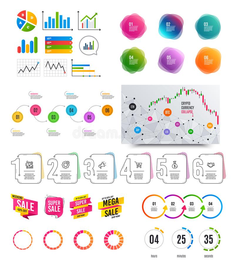 Infographic elements. Financial graph, options banner badges. Sale shapes, countdown. Analytics chart, timeline. Vector. Infographic elements. Financial graph vector illustration