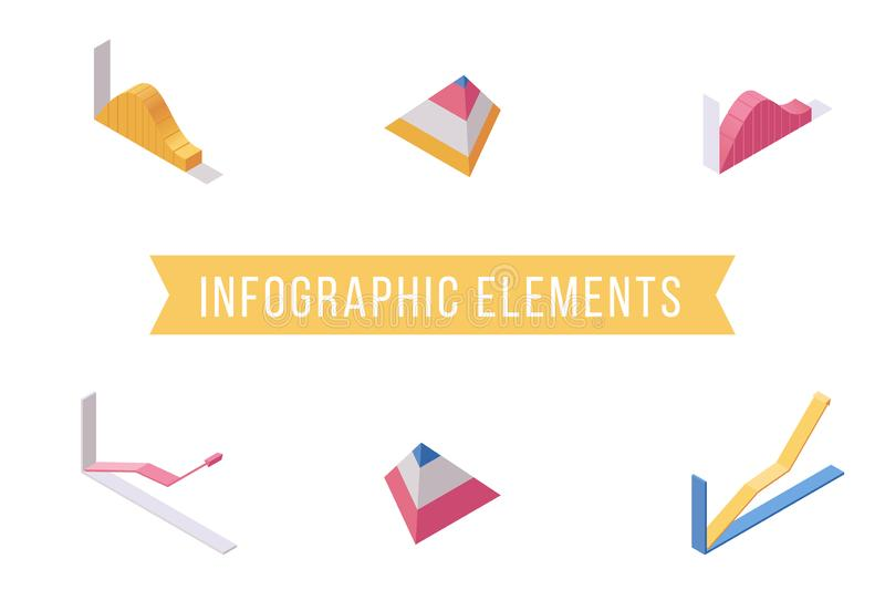 Infographic elements flat isometric illustrations set. Economic charts, growing line and pyramid diagram 3D vector icons. Infographic elements flat isometric stock illustration