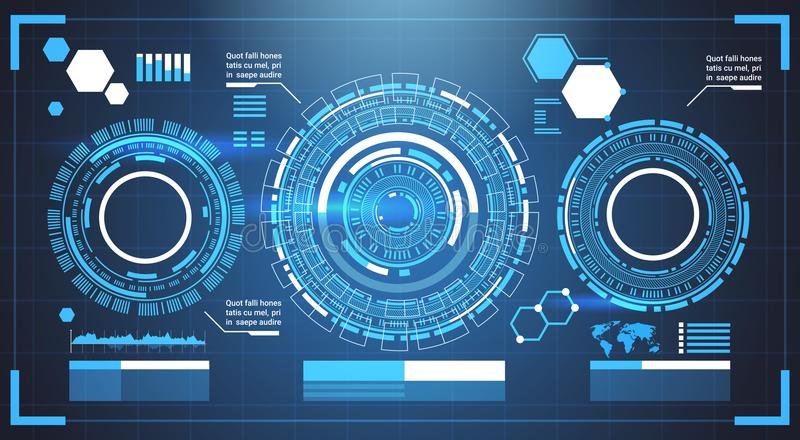 Infographic Elements Futuristic Template Banner With Copy Space Tech Abstract Background Charts And Graph. Vector Illustration stock illustration