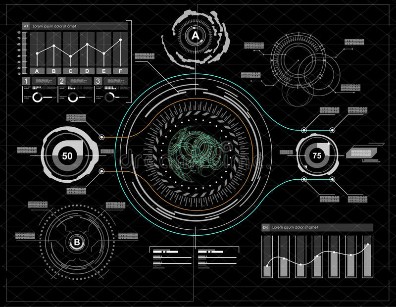 Infographic elements. Head-up display elements for the web and app. Futuristic user interface. Virtual graphic. royalty free illustration