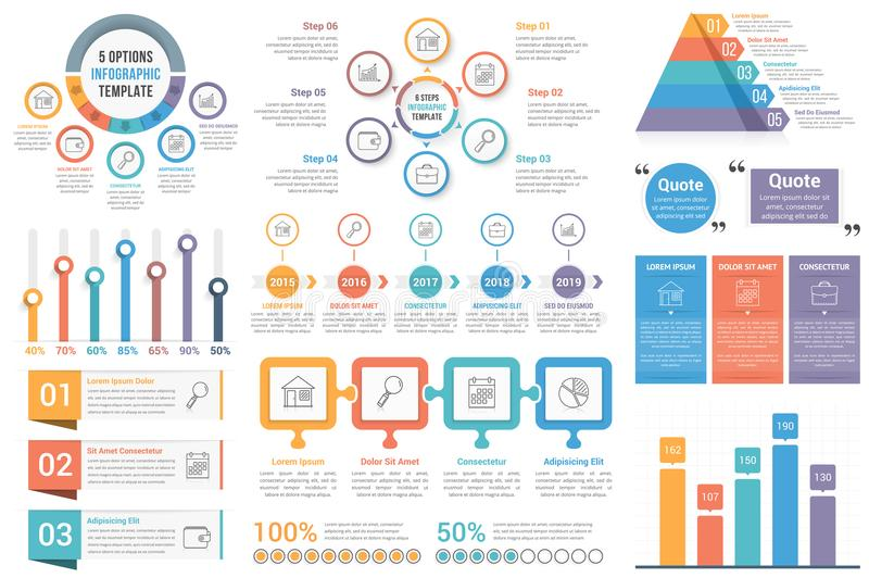 Infographic Elements. Circle diagrams, timeline, bar graphs, pyramid chart, steps, options stock illustration