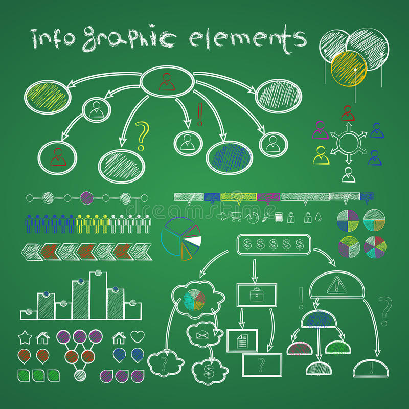 Infographic elements library. On green chalkboard. school or busines collection royalty free illustration