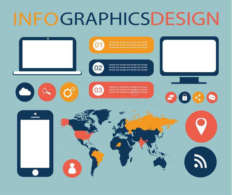 Infographic elements for mobile and computer stock photos