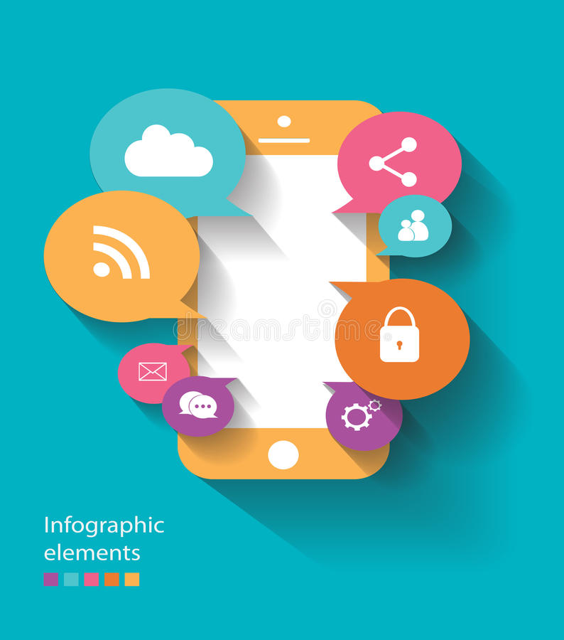 Infographic elements mobile phone vector flat royalty free stock photography