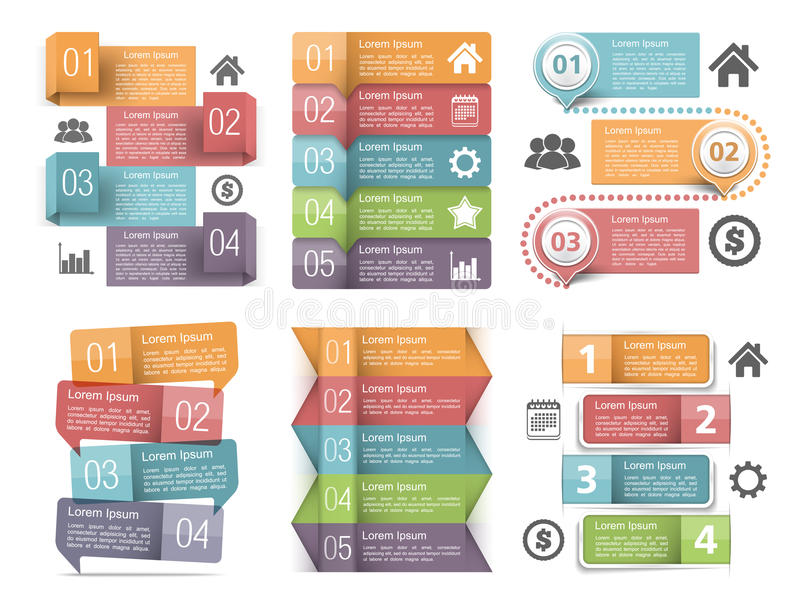 Infographic Elements with Numbers. Icons and place for text stock illustration