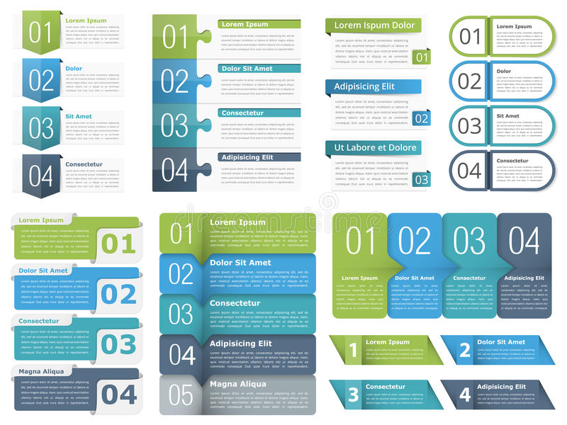 Infographic Elements with Numbers. Set of different infographic elements with numbers, line icons and place for your text, can be used as workflow, process stock illustration