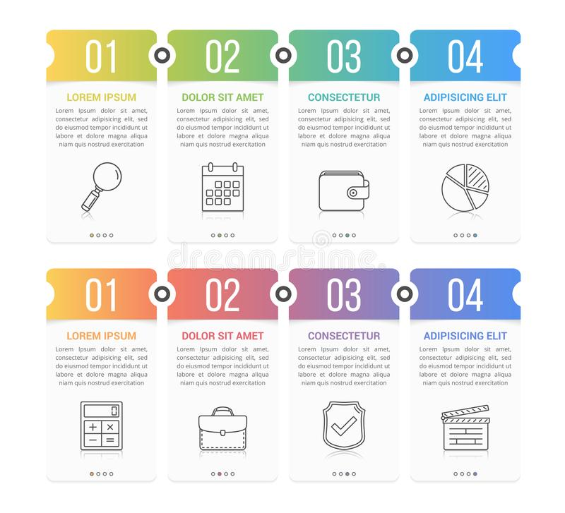 Infographic Elements with Numbers. Set of infographic elements with numbers, line icons and place for your text, can be used as workflow, process, steps or stock illustration