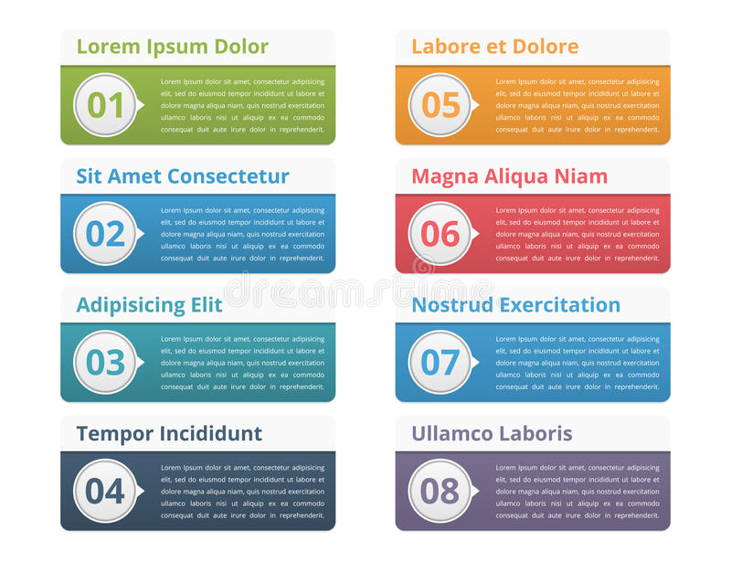 Infographic Elements with Numbers and Text. Eight infographic elements with place for numbers titles and text royalty free illustration