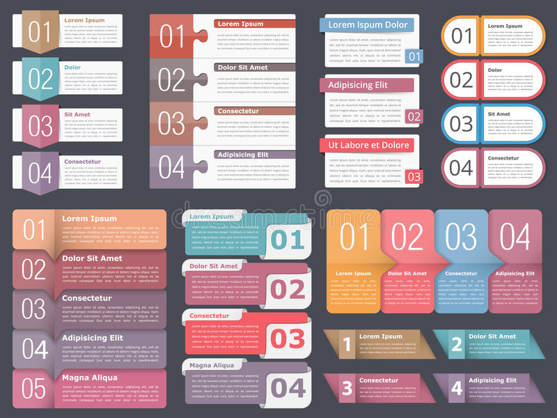 Infographic Elements with Numbers and Text. Infographic templates with numbers and text, business infographics elements set, workflow, process, steps or options vector illustration