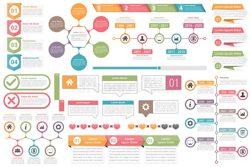 Infographic Elements. Objects with numbers amd text, timeline infographics, check and cross symbols, circle diagram, speech bubbles, process charts vector illustration