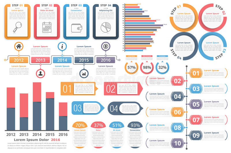 Infographic Elements. Objects with numbers and text, bar graphs, circle diagram, timeline, objects with percents and text, process diagram stock illustration