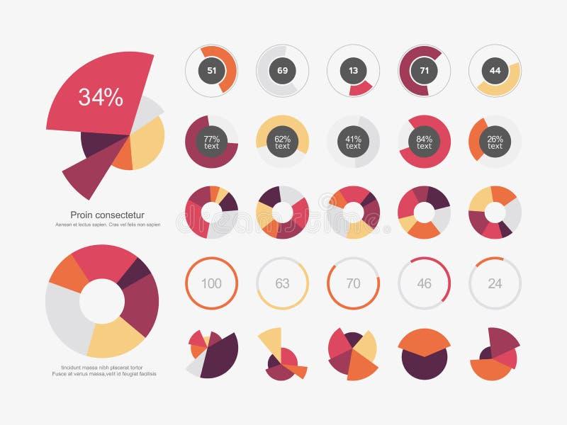 Infographic Elements Pie chart set icon stock illustration