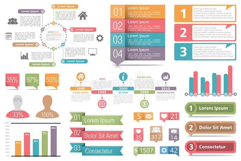 Infographic Elements. Set of infographic elements - circle diagram, bar graphs, objects with numbers and percents, timeline, buttons stock illustration