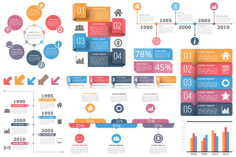 Infographic Elements. Set of infographic elements - circle diagram, timelines, arrows, diagram with percents, bar graph, objects with numbers (steps or options) royalty free illustration