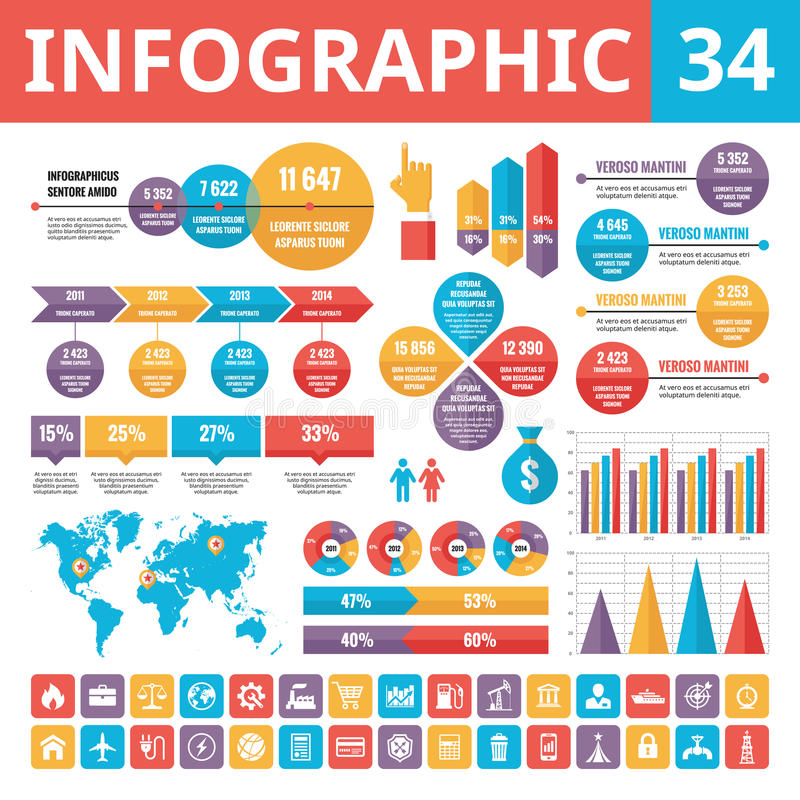 Infographic elements 34. Set of vector design elements in flat style for business presentation, booklet, web site and projects. royalty free illustration