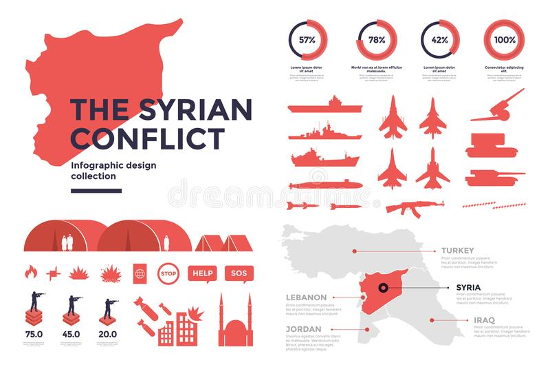Infographic elements on subject of Syrian conflict. Silhouette image of military technology, weapons. Map of Syria and border area vector illustration