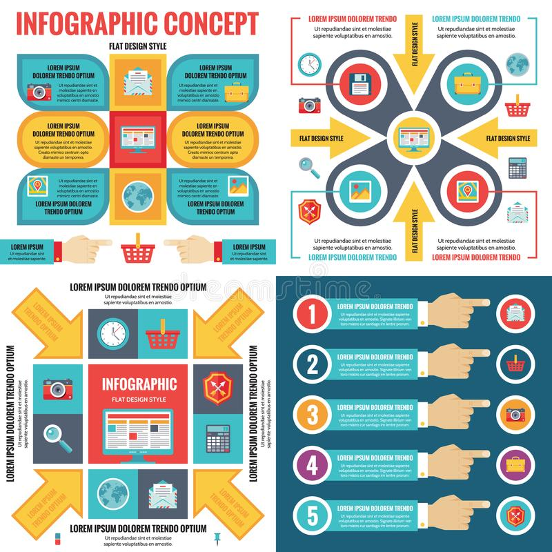 Infographic elements template business concept banners in flat design style for presentation, brochure, website and other project. stock illustration