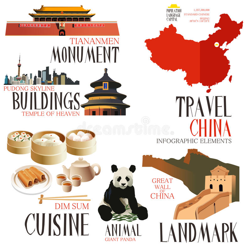 Infographic elements for traveling to China royalty free illustration