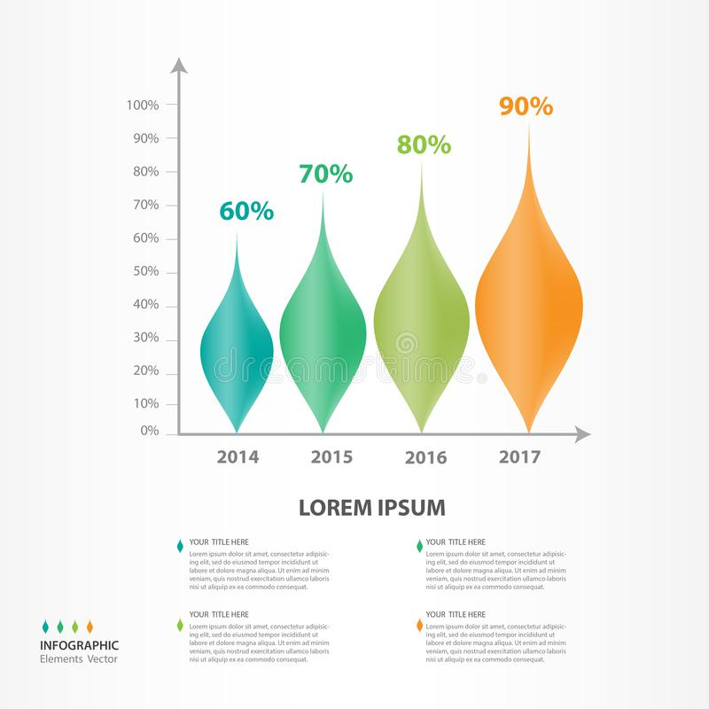 Infographic elements vector for business, Leaves 3d icon, brochure flyer template, presentation, web, banner, timeline, diagram, royalty free illustration