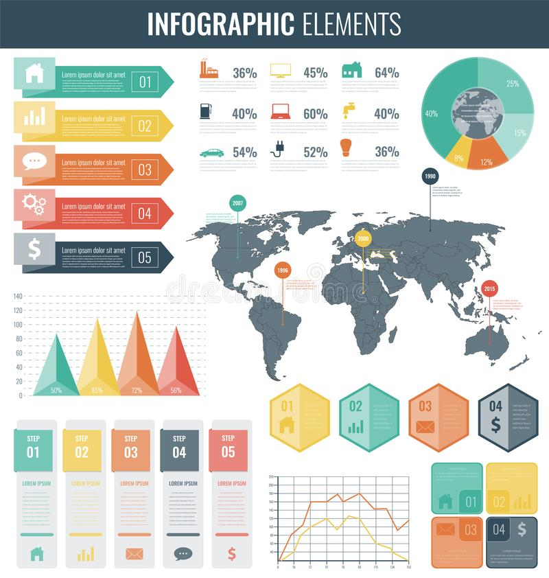 Infographic elements with world map and charts vector stock vector download infographic elements with world map and charts vector stock vector illustration of illustration gumiabroncs Gallery