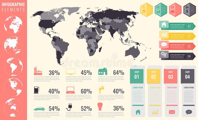 Infographic Elementsatz Weltkarte, Markierungen, Diagramme und andere Elemente Geschäft Infographic Vektor lizenzfreie abbildung