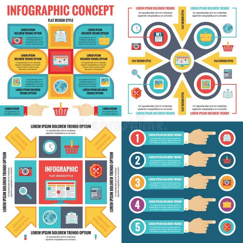 Infographic-Elementschablonengeschäfts-Konzeptfahnen in der flachen Designart für Darstellung, Broschüre, Website und anderes Pro stock abbildung