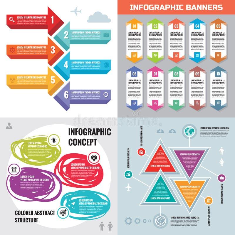 Infographic-Elementschablonengeschäfts-Konzeptfahnen für Darstellung, Broschüre, Website und andere Projektplanung stock abbildung