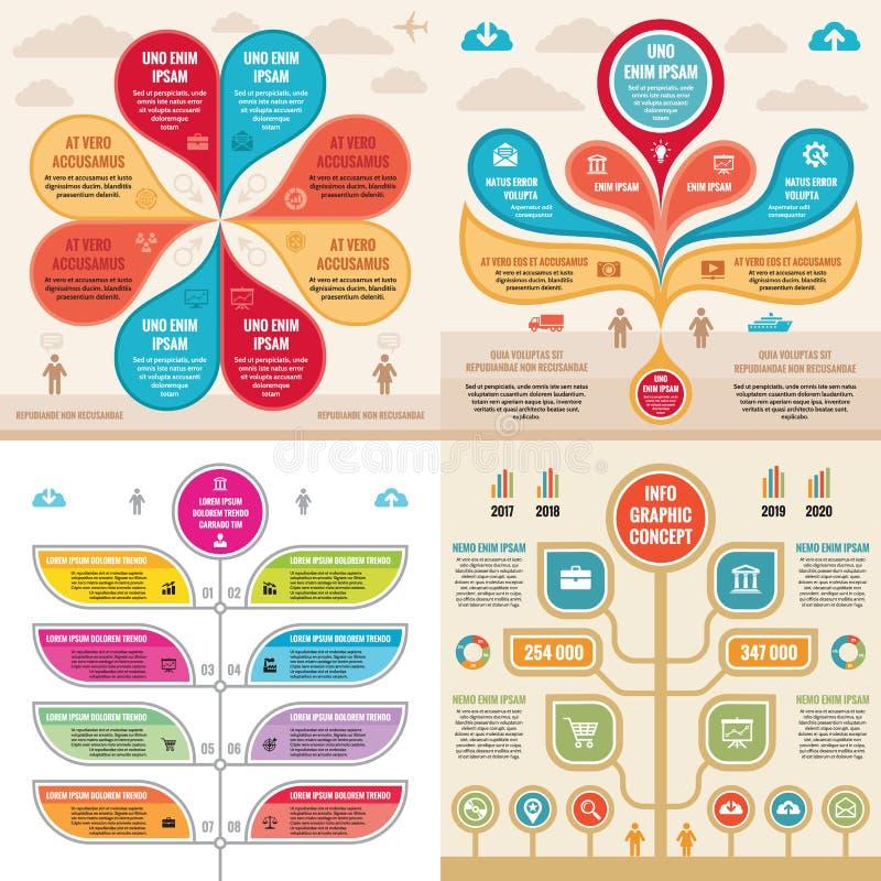 Infographic-Elementschablonengeschäfts-Konzeptfahnen für Darstellung, Broschüre, Website und andere Projektplanung vektor abbildung