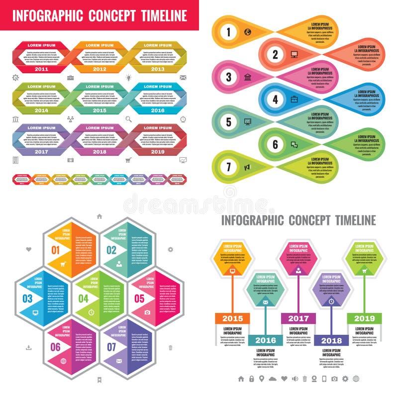Infographic-Elementschablonengeschäfts-Konzeptfahnen für Darstellung, Broschüre, Website und andere Projektplanung Zeitachse stock abbildung