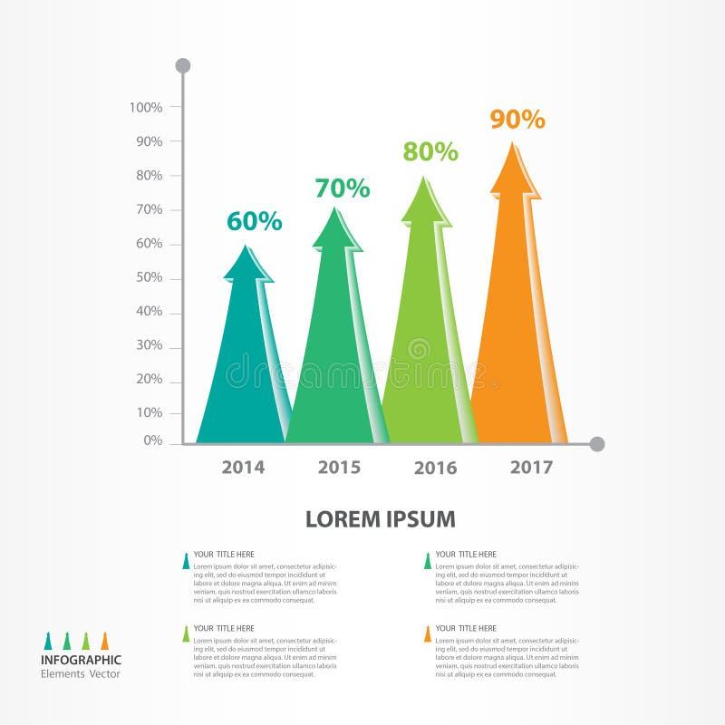 Infographic-Elementvektor für Geschäft, Ikone des Pfeiles 3d, Broschürenfliegerschablone, Darstellung, Netz, Fahnendesign, Diagra stock abbildung