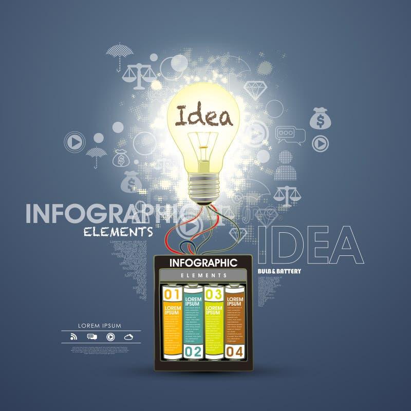 Infographic elementy, bateryjny oświetlenie żarówka ilustracja wektor