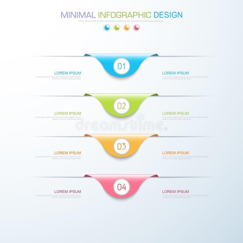 Infographic elementy z biznesową ikoną na pełnego koloru tła procesie, krokach lub opcja obieg diagramach, wektorowy projekt obrazy stock