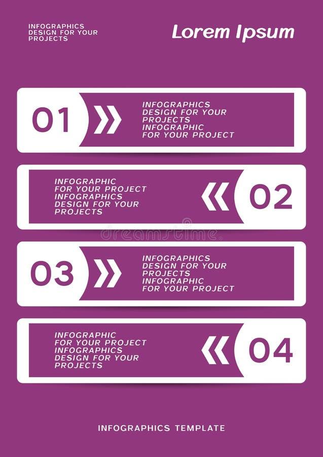 Infographic eller reng?ringsdukbanerdesign med numrerade moment stock illustrationer