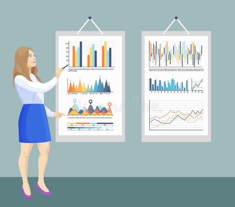 Infographic en Stroomschema's aan boord, Presentatie royalty-vrije illustratie