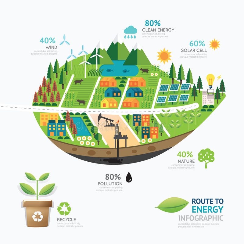 Infographic energy leaf shape template design.route to clean stock illustration