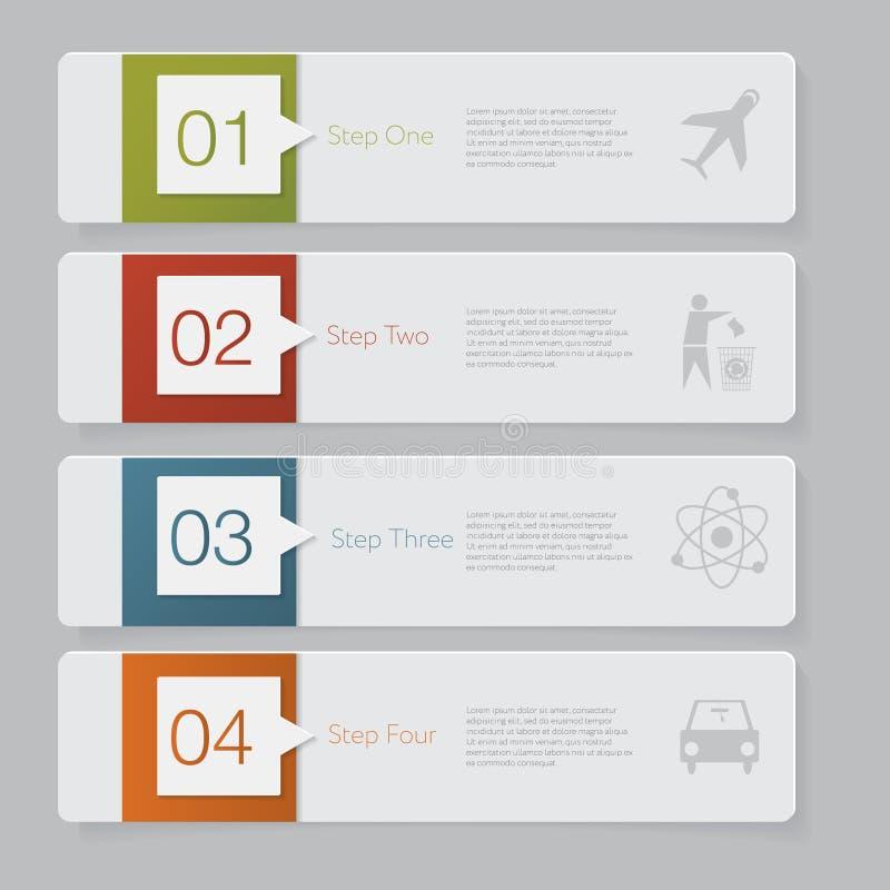 Infographic Entwerfen Sie Zahlfahnen-Schablonengraphik oder Websiteplan lizenzfreie abbildung