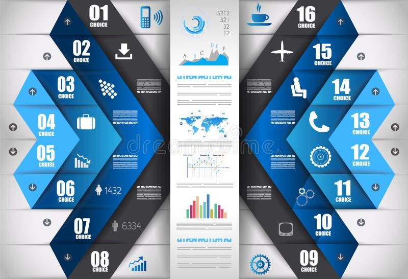 Infographic-Entwurfsschablone mit Papierumbauten lizenzfreie abbildung