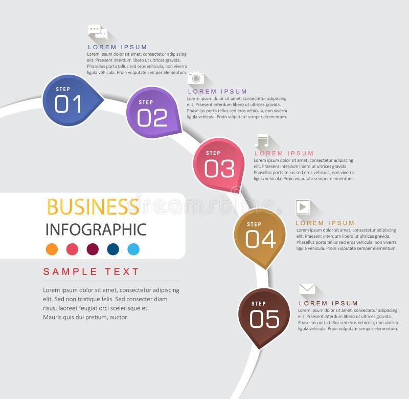 Infographic-Entwurfsschablone und Geschäftszeitachse mit 5 Wahlen lizenzfreie abbildung